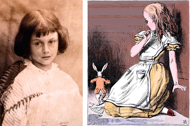 Left to right: Alice Liddell  (photographed by Dodgson) and Alice and the White Rabbit by John Tenniel