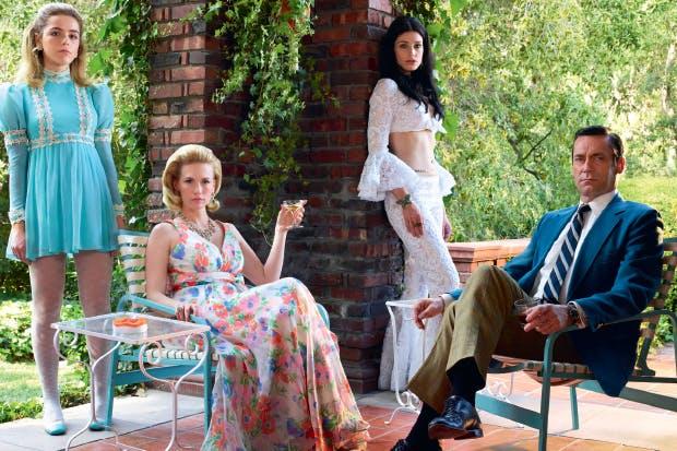 Style council: left to right, Kiernan Shipka (Sally Draper), January Jones (Betty Draper), Jessica Paré (Megan Draper), Jon Hamm (Donald Draper)