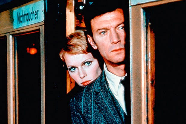 A Dandy in Aspic was made into a successful film in 1968, starring Lawrence Harvey and Mia Farrow (pictured), together with Tom Courtenay and Peter Cook