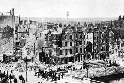 Dublin's docks were shelled from the Liffey by the British admiralty gunboat, the Helga, during the Easter Rising