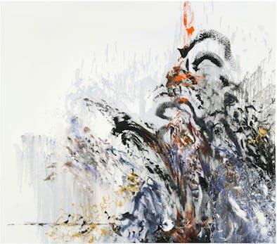 Maggi Hambling, Wall of water XIII, war, oil on canvas, 2012, 78 x 89 ins, copyright Maggi Hambling, Photograph by Douglas Atfield
