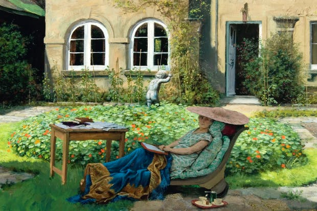 Rex Whistler's portrait of Edith Olivier on a day bed at Daye House, Wilton, 1942