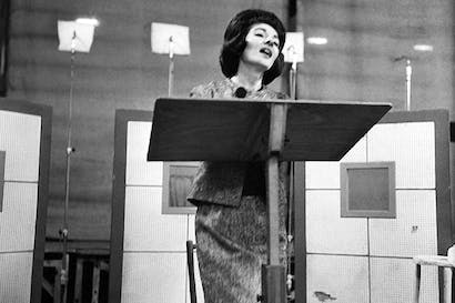 Maria Callas recording an album for EMI at the Salle Wagram, Paris, in 1963. Photo: Robert Doisneau