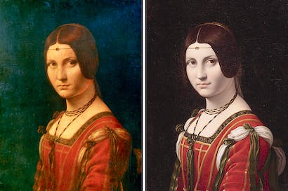 Leonardo da Vinci: 'La Belle Ferronière' 1495–1499 (Musée de Louvre, Paris) and (left) Follower of Leonardo da Vinci: 'La Belle Ferronière' c. before 1750 (Private Collection)