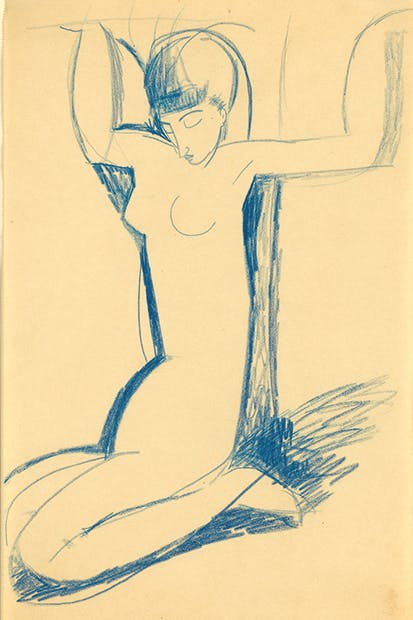 'Kneeling Blue Caryatid', c.1911, by Modigliani