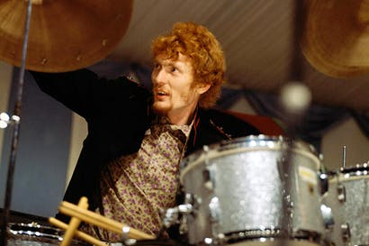 Ginger Baker plays the drums at Cream's first live performance at the Windsor Festival, 31 July 1966