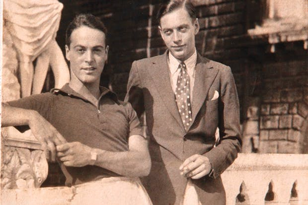 Lankily elegant and exquisitely dressed: Peter Watson (right) with Oliver Messel