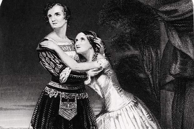 Charlotte and Susan Cushman as Romeo and Juliet c. 1849. Now comparatively obscure,Charlotte was widely considered the most powerful actress on the 19th-century stage