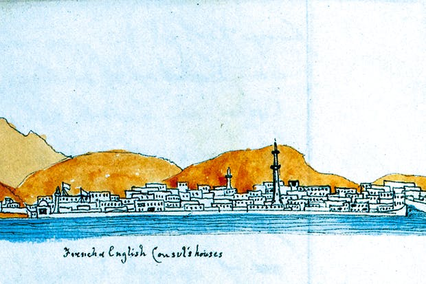 'Jeddah from the sea'— sketch by Thomas Machell in one of his journals