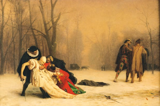 'The Duel after the Masquerade' by Jean-Léon Gerome was exhibited to great acclaim in Paris in 1857, and a year later in London. The art historian Francis Haskell has suggested that the mysterious duelling figures from the commmedia dell'arte are characters in a story by Jules Champfleury