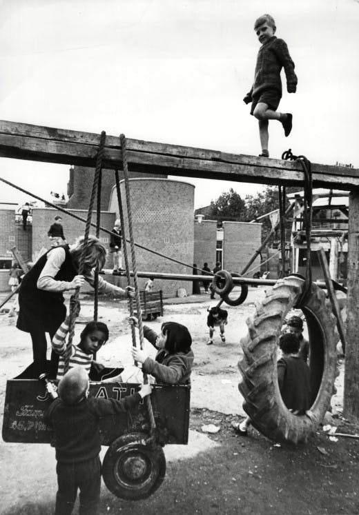 Children At Play 1960's - Children Playing At The New Adventure Playground In Notting Hill.