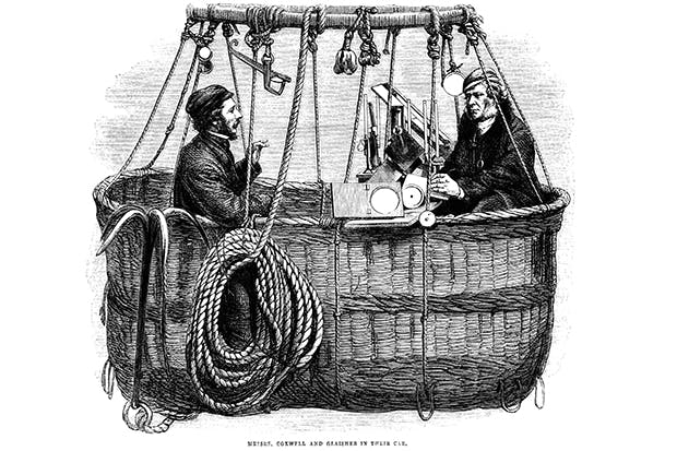 Henry Coxwell and James Glaisher in their balloon car, studying the moisture content of the atmosphere