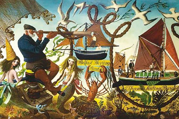 'Working Boats from around the British Coast': mural with mermaids and a dancing lobster by the visionary artist Alan Sorrell, commissioned for the Festival of Britain, 1951