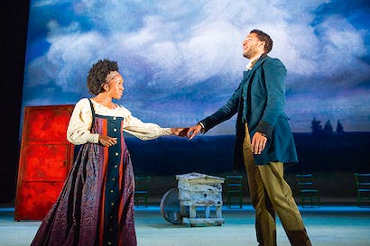 Cherrelle Skeete as Katya and Royce Pierreson at Belyaev in 'Three Days in the Country'