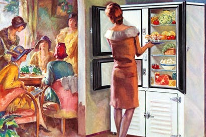 The refrigerator takes centre stage at a 1920s luncheon party