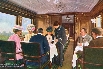 The dining car of the London to Liverpool express — back when croutons were still served with the soup