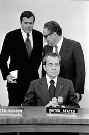 Nixon with Kissinger and Donald Rumsfeld in 1969