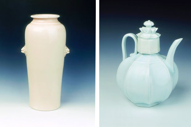 Left to right: Dehua porcelain vase with lion-head masks, late Ming dynasty, 1600–1644; Qingbai eight-panelled globular ewer, Northern Song dynasty, 11th century