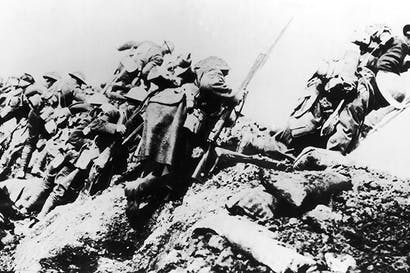 British troops go over the top on 1 July 1916, the first day of the Battle of the Somme