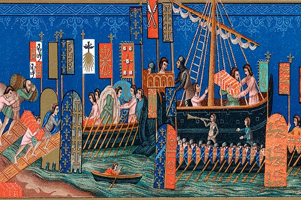 A French illuminated manuscript shows supplies being loaded onto boats before departing for the Crusades