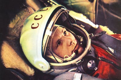 Yuri Gagarin in the cabin of Vostok, the spacecraft in which he made the first human journey to outer space on 12 April, 1961