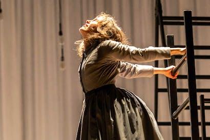 'I want to break free-eee!': Madeleine Worrall as Jane, the 19th century's Freddie Mercury, in 'Jane Eyre' at the Lyttelton