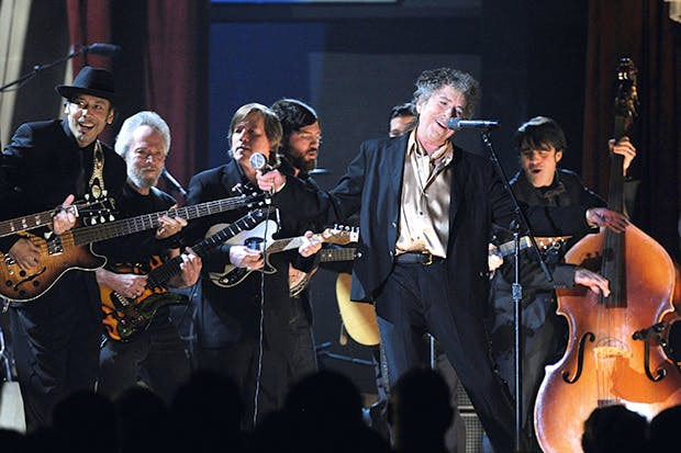 On song: Bob Dylan performs at the 53rd annual Grammy Awards at Staples Center in 2011; photographers are banned on his current tour