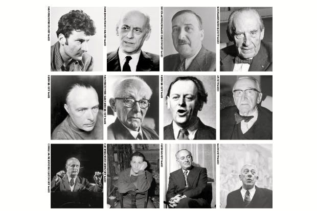 From top left: Lucian Freud, Rudolf Bing, Stefan Zweig, Walter Gropius, Rudolf Laban, Max Born, Kurt Schwitters, Friedrich Hayek, Fritz Busch, Frank Auerbach, Emeric Pressburger, Oskar Kokoschka