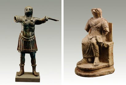 Standing figure of the ancient Egyptian god Horus, wearing Roman military costume, 1st–2nd century AD and Seated figure of the ancient Egyptian god Horus, wearing Roman military costume, 1st–2nd century AD
