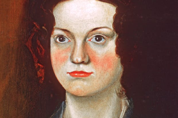 Charlotte Brontë, as she appears in Branwell's famous group portrait of his sisters (detail)