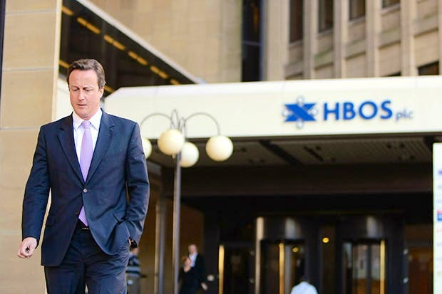 David Cameron leaves the headquarters of the Halifax Bank of Scotland (HBOS) in 2008 (Photo: Getty)