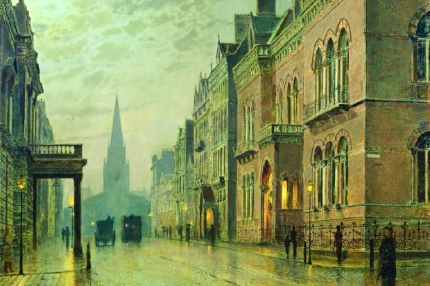 Atkinson Grimshaw's 'Park Row, Leeds',  as it looked in 1882