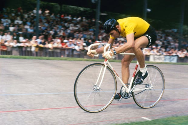 Two wheels good: Belgian racing cyclist Eddy Merckx on the track, 1970