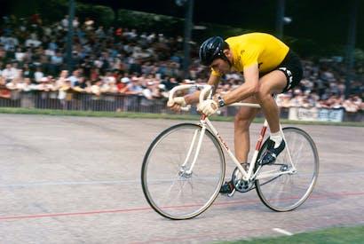 Two wheels good: Belgian racing cyclist Eddy Merckx on the track, 1970