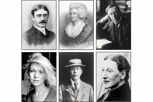 Clockwise from top left: Rudyard Kipling, Hannah More, M.R. James, Elizabeth Bowen, Arthur Conan Doyle and Candia McWilliam