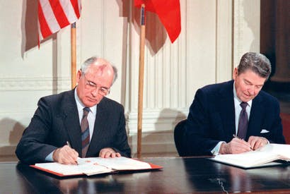 Gorbachev and Reagan sign the historic treaty on 8 December 1987 eliminating Soviet and Us intermediate-range and short-range nuclear missiles