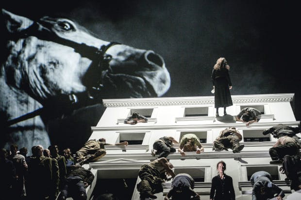 ENO's production of 'The Force of Destiny' has a large, fidgety set and a projection of a vast horse's head