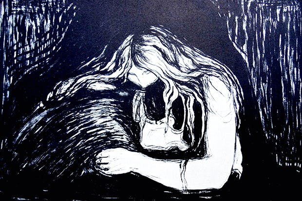 'Vampire', woodcut by Edvard Munch (1902)