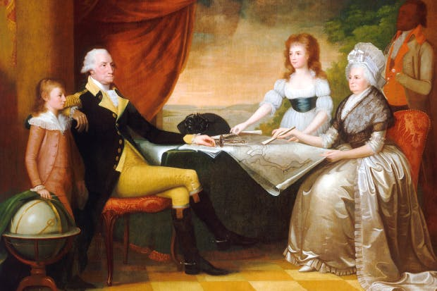A portrait by Edward Savage of the Washingtons at home, with two of Martha's grandchildren, adopted by her after the death of their parents