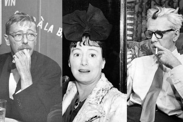 Left to right: Wolcott Gibbs, Dorothy Parker and James Thurber.