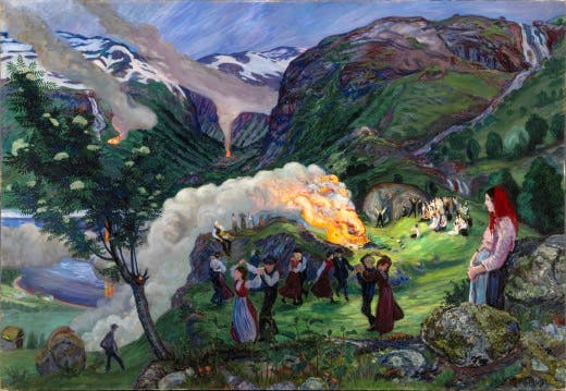 The Main Midsummer Eve Bonfire by Nikolai Astrup