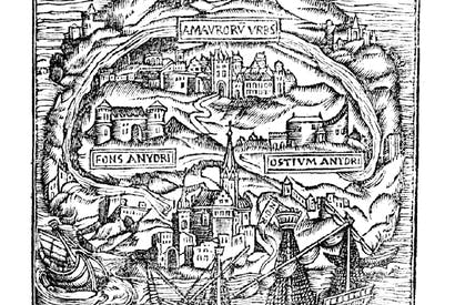 Map of the Island of Utopia, book frontispiece, 1563