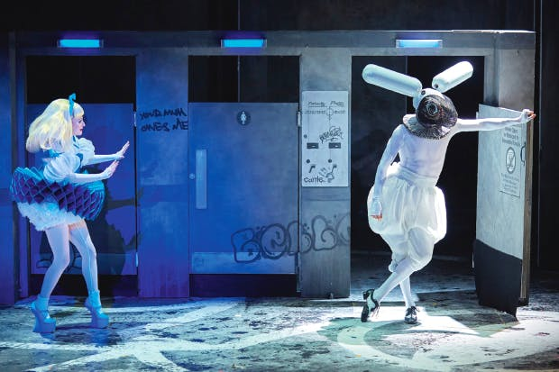 Carly Bawden as Alice and Joshua Lacey as the White Rabbit