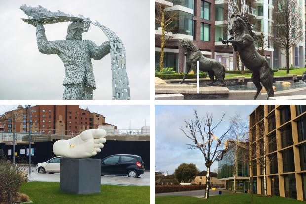 Clockwise from top left: 'The Steelman' by Andy Scott; 'Horses' by Hamish Mackie; 'Alchemical Tree' by Simon Periton; 'Modern Marriage' by Simon Fujiwara