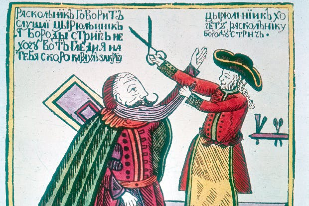 A Russian barber cuts off the beard of an Old Believer. In 1705, as part of his ruthless campaign of modernisation, Peter the Great imposed a tax on beards of up to 100 roubles