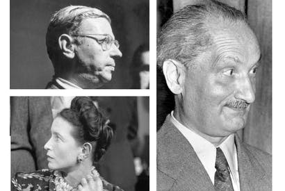 Clockwise from top left: Jean-Paul Sartre, Martin Heidegger and Simone de Beauvoir