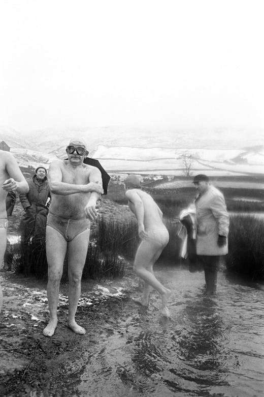 'GB. England. West Yorkshire. Todmorden. Lee Dam Swim. 1977.' by Martin Parr