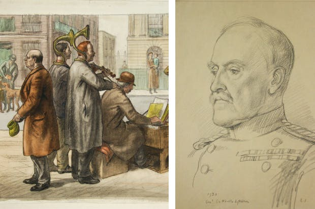 'Street musicians'; and (right) portrait of Neville Lyttelton by Randolph Schwabe