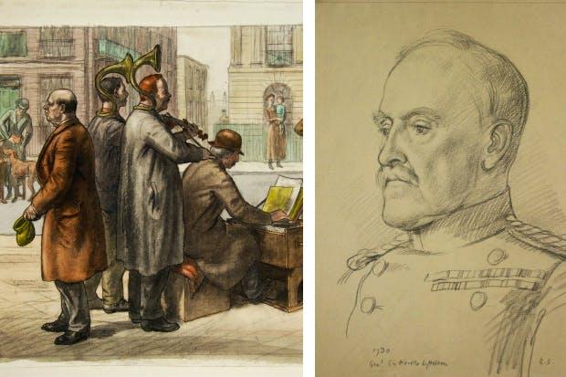 'Street musicians'; and (right) portrait of Neville Lyttelton by Randolph Schwabe