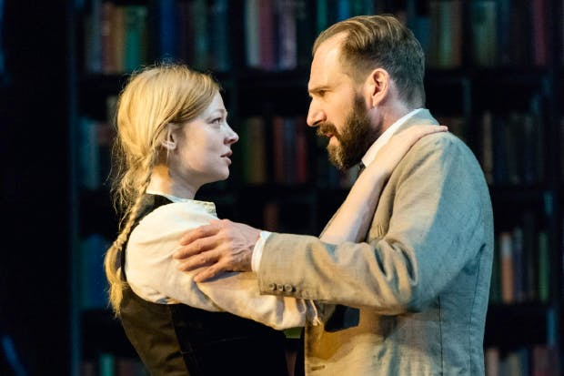 Sarah Snook as Hilde Wangel and Ralph Fiennes as Halvard Solness in 'The Master Builder'